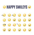 happy smileys icon set emoticons vector image