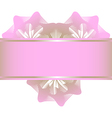 Pink lowers in the form of heart and ribbon vector image