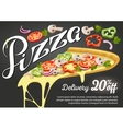 Pizza slice for advertising design of vector image