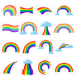rainbow icon cartoon flat set vector image