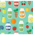 Seamless pattern with jars of juice in flat style vector image
