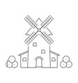thin line windmill with haystacks vector image