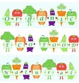 cartoon vegetables with words organic natural vector image vector image