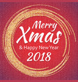 2018 gold and white card with merry christmas vector image