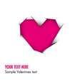 Pink Heart cut out of white paper vector image vector image