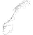 Black White Norway Outline Map vector image vector image