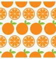 Orange fruit set with leaf in a row Cut half vector image