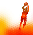 Polygonal background with basketball player vector image
