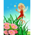 A fairy holding a wand near the garden with vector image