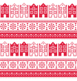Christmas knitted seamless pattern with town house vector image