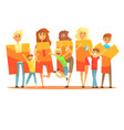 group of smiling people holding the word happy vector image