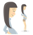 cute pregnant woman cartoon character waiting vector image