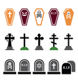 Halloween graveyard colorful icons set - coffin vector image