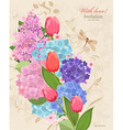 retro invitation card with flowers bouquet with vector image vector image