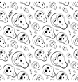 Seamless pattern black and white skulls with herbs vector image