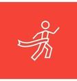 Winner crossing finish line icon vector image vector image