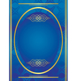 vertical blue golden frame with oval vector image