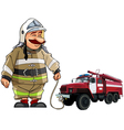 cartoon firefighter with fire engine vector image