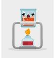 kawaii beaker lab with bunsen burner chemistry vector image