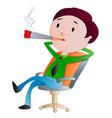 man smoking a cigarette vector image