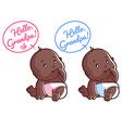 Two cute toddler Card for grandpa Hello Grandpa vector image