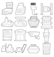 Supermarket items icons set outline cartoon style vector image