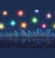 seamless night city landscape with fireworks vector image