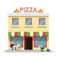 cafe building facade customer pizza serving dish vector image