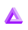 penrose triangle icon in violet geometric 3d vector image
