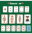 Playing cards diamonds set vector image