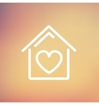 Contoured house thin line icon vector image