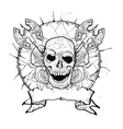 medieval weapons skull and roses vector image