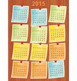 calendar 2015 on notes vector image