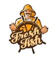 Fisherman logo fisher angler or fishing vector image