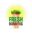 Fresh burrito logo Snack bar signboard vector image