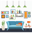 living room with sofa and small table vector image