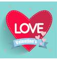 love valentines blue ribbon red heart blue blackgr vector image