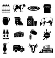 Milk icons set vector image