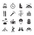 Mountain Climbing Black White Icons Set vector image