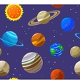 Solar System Planets and Sun Background Pattern vector image