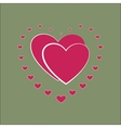 Heart small around two pink heard card vector image