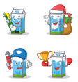 set of milk box character with beer gift plumber vector image
