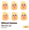 blonde woman with different face expressions vector image vector image