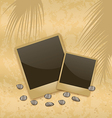 Photo card on sand background old style vector image