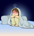 Cry girl sitting on bed vector image