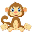 Cartoon cute monkey sitting vector image