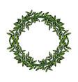 green laurel wreaths round for emblem vector image