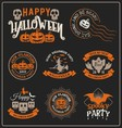 Set of Halloween badge label and frames design vector image