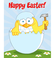Yellow Easter Chick Holding A Hammer vector image vector image