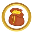 Brown money bag full of coins icon vector image